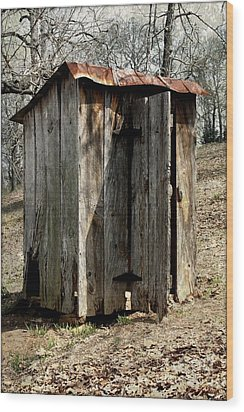 Outhouse Wood Print by Gayle Johnson
