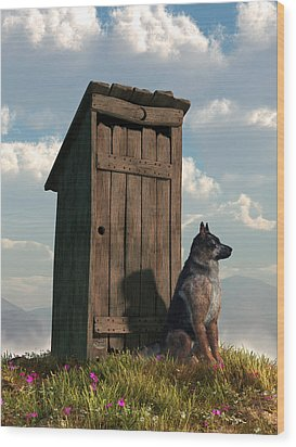 Outhouse Guardian - German Shepherd Version Wood Print
