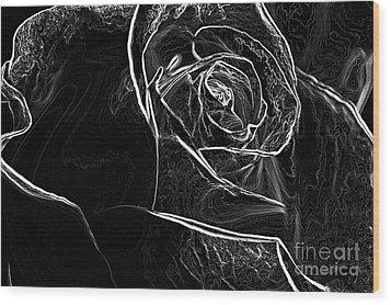 Wood Print featuring the photograph Outline Of A Rose by Micah May