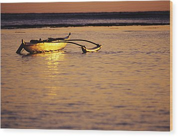 Outrigger And Sunset Wood Print by Joss - Printscapes