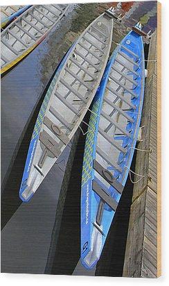 Outrigger Canoe Boats Wood Print by Ben and Raisa Gertsberg