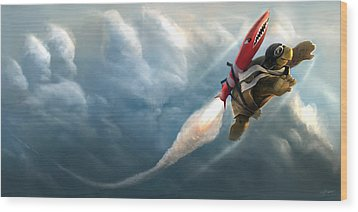 Wood Print featuring the digital art Outrunning The Clouds by Steve Goad