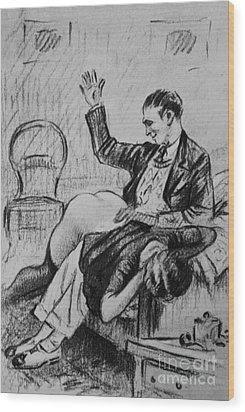 Over His Knee Wood Print by P Beloti