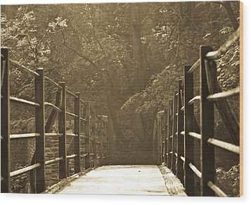 Over The Bridge Wood Print by Brian Roscorla