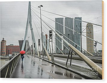 Wood Print featuring the photograph Over The Erasmus Bridge In Rotterdam With Red Umbrella by RicardMN Photography
