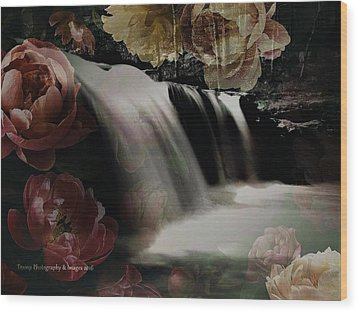 Over The Falls Wood Print