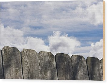 Over The Fence Wood Print by Rebecca Cozart