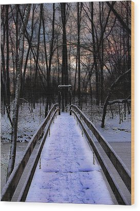 Over The Frozen River Wood Print by Scott Hovind