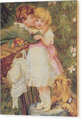 Over The Garden Wall Wood Print by Frederick Morgan