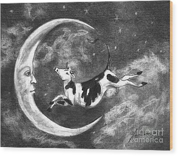 Over The Moon Wood Print