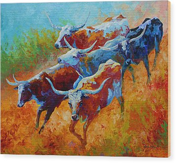 Over The Ridge - Longhorns Wood Print by Marion Rose