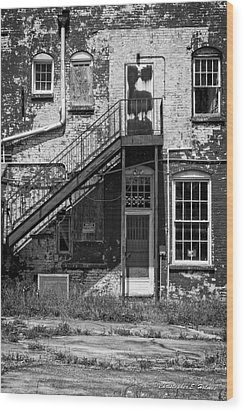 Wood Print featuring the photograph Over Under The Stairs - Bw by Christopher Holmes
