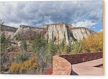 Wood Print featuring the photograph Overlook In Zion National Park Upper Plateau by John M Bailey
