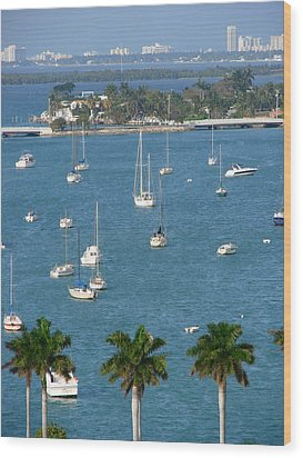 Overlooking A Miami Marina Wood Print
