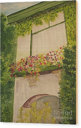 Wood Print featuring the painting Overlooking Butchard Gardens  by Vicki  Housel