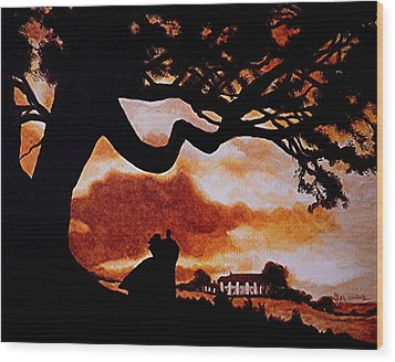 Overlooking Tara At Sunset Wood Print by Al  Molina