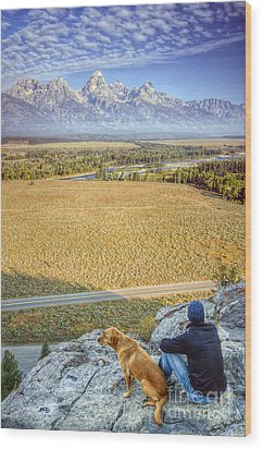Overlooking The Grand Tetons Jackson Hole Wood Print by Dustin K Ryan