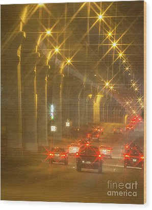 Wood Print featuring the photograph Overpass Traffic by Linda Phelps