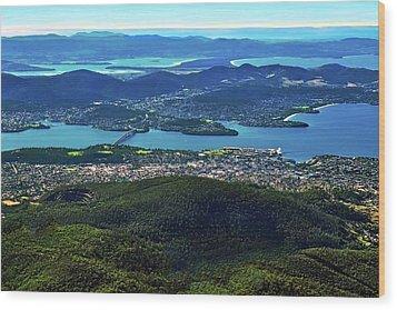 Overview Of Hobart Tasmania Wood Print