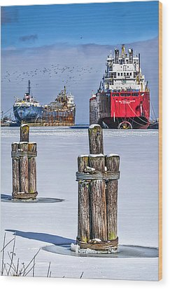 Owen Sound Winter Harbour Study #4 Wood Print by Irwin Seidman