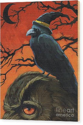 Owl And Crow Halloween Wood Print
