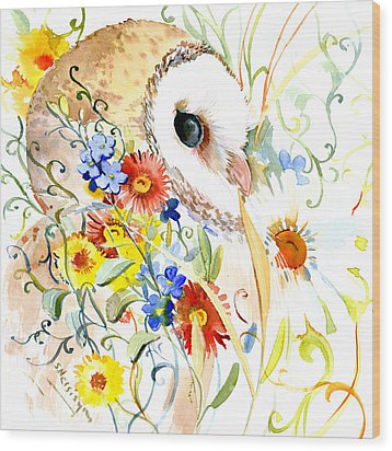 Owl And Flowers Wood Print