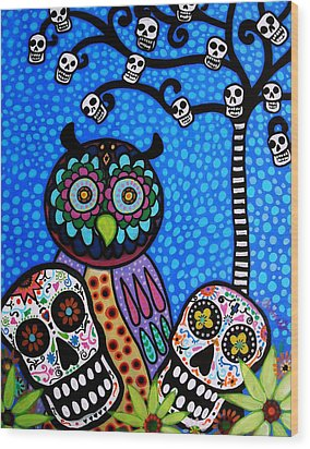 Owl And Sugar Day Of The Dead Wood Print