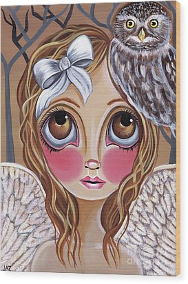 Owl Angel Wood Print by Jaz Higgins