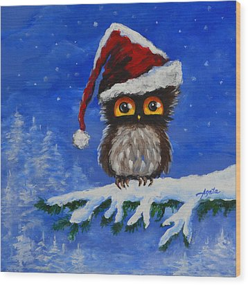 Owl Be Home For Christmas Wood Print by Agata Lindquist
