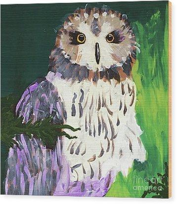 Owl Behind A Tree Wood Print