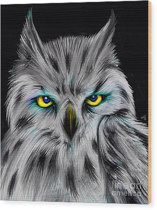 Wood Print featuring the drawing Owl Eyes  by Nick Gustafson
