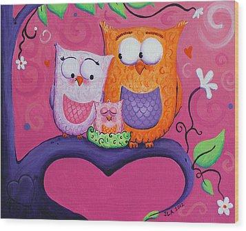 Owl Family Wood Print by Jennifer Alvarez