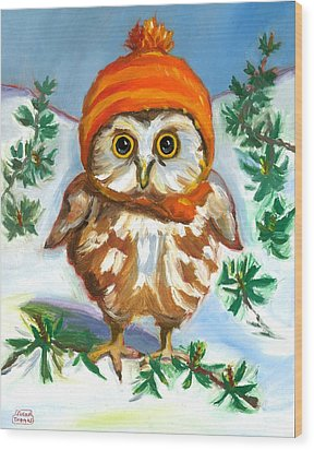 Wood Print featuring the painting Owl In Orange Hat by Susan Thomas