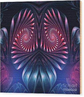 Wood Print featuring the digital art Owl by Jutta Maria Pusl