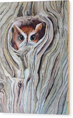 Owl Wood Print by Laurel Best