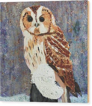 Owl On Snow Wood Print