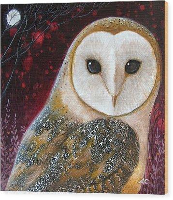 Owl Power Animal Wood Print by Amanda Clark