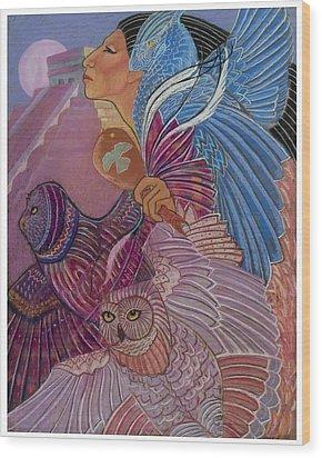 Owl Woman At Chichen Itza Wood Print