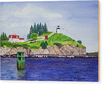 Owls Head Lighthouse Wood Print by Mike Robles