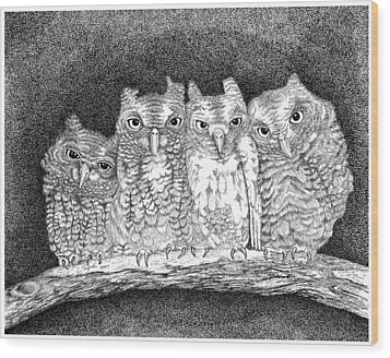 Owls Wood Print by Lawrence Tripoli