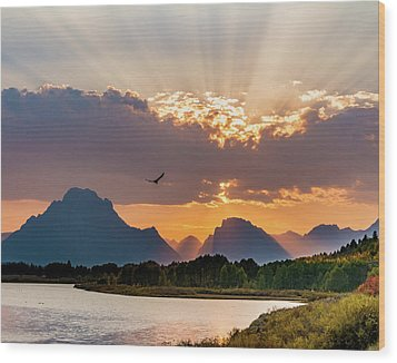 Oxbow At Sunset Wood Print by Mary Hone