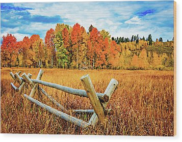 Oxbow Bend Fall Color Wood Print
