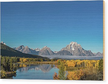 Oxbow Bend Wood Print by Mary Hone
