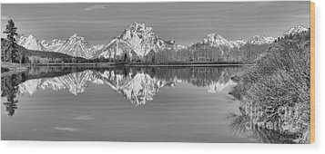 Oxbow Bend Panorama Black And White Wood Print by Adam Jewell
