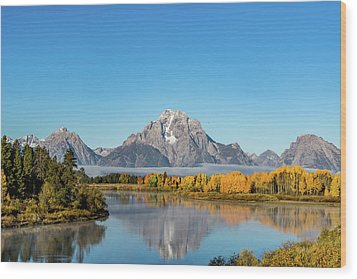 Oxbow Bend Reflecting Wood Print by Mary Hone
