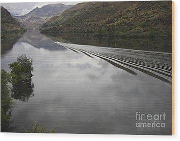 Oxbow Reservoir Wake Wood Print by Idaho Scenic Images Linda Lantzy