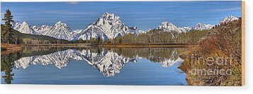 Oxbow Snake River Reflections Wood Print by Adam Jewell