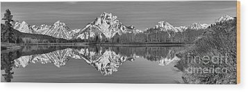 Oxbow Snake River Reflections Black And White Wood Print by Adam Jewell