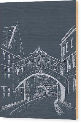 Wood Print featuring the digital art Oxford At Night by Elizabeth Lock