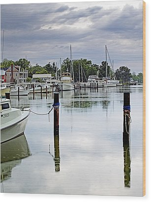 Oxford City Dock Eastern Shore Of Maryland Wood Print by Brendan Reals